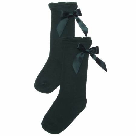 Girls Green Knee High Bow Socks