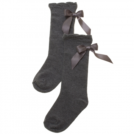 Girls Knee High Grey Socks With Large Satin Bows