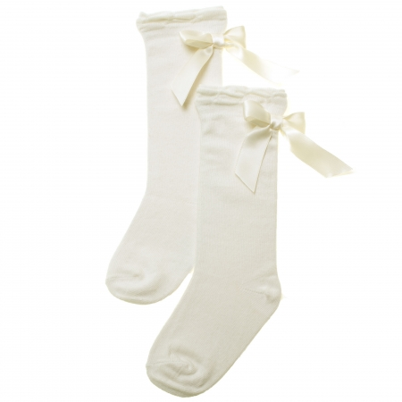 Knee High Socks in Ivory With Satin Bows