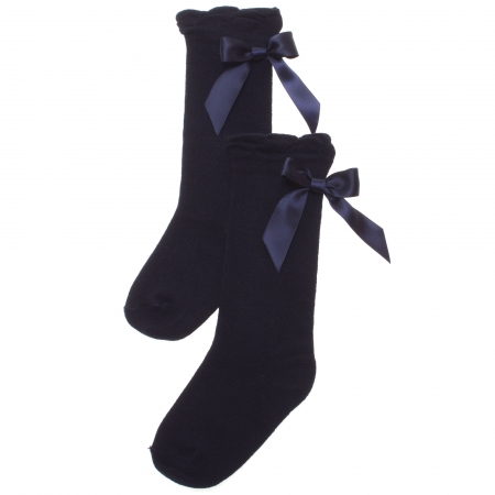 Girls Knee High Navy Socks Satin Bows