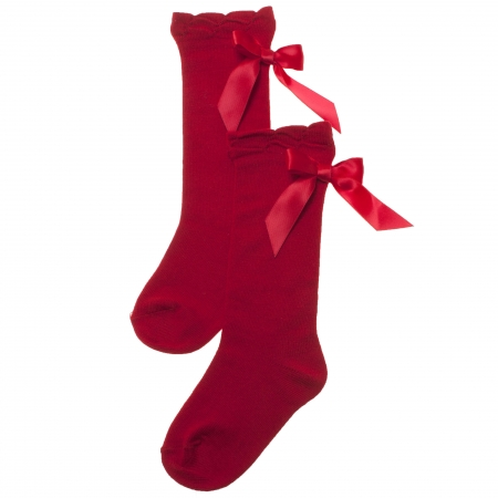 Girls Knee High Socks Red With Large Satin Bows