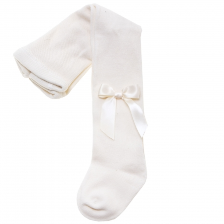 Carlomagno High Quality Girls Ivory Tights With Satin Bows