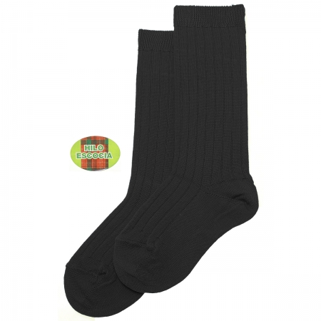 Fine Rib Knee High Black Socks Made in Spain