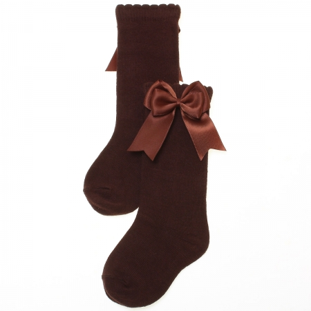Spanish Girls Knee High Chocolate Brown Double Satin Bow Socks