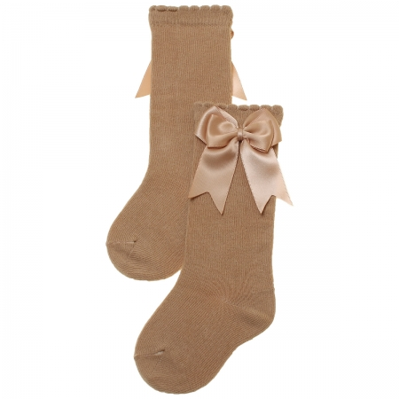 Caramel Colour Girls Knee High Double Satin Bow Socks