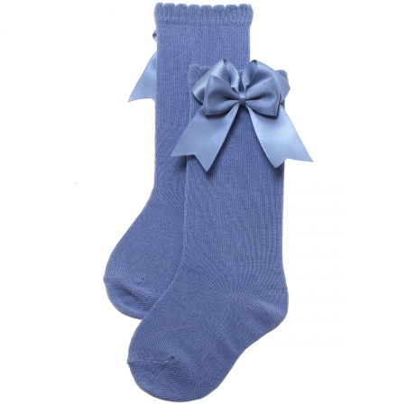 Double Bow Knee High Girls Dark Blue Socks