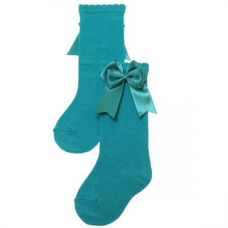 Girls Knee High Double Bow Emeral Green Socks
