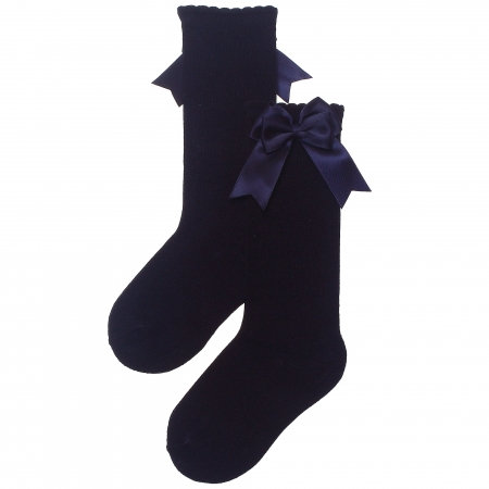 Girls Knee High Double Bow Navy Socks