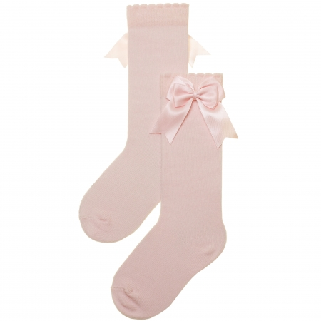 Girls Knee High Double Satin Bow Pink Socks