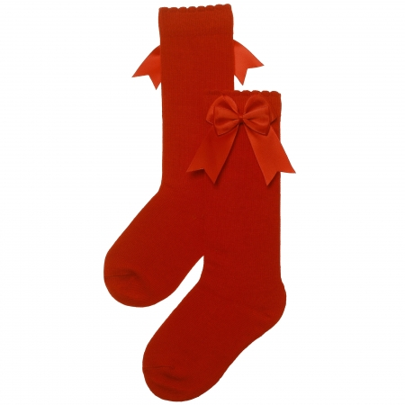 Carlomagno Girls Knee High Double Satin Bow Red Socks