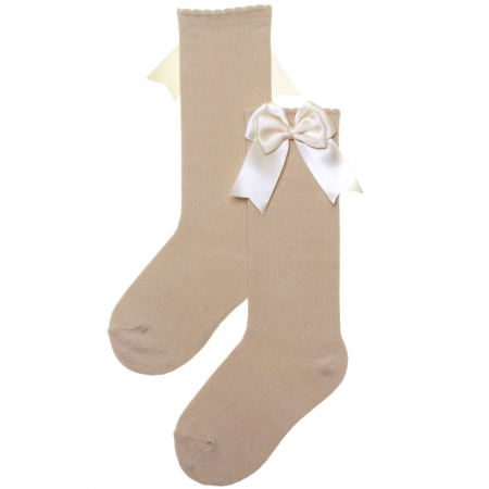 Girls Knee High Double Satin Bow Tan Colour Socks