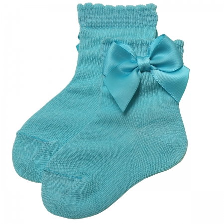 Girls Aqua Colour Ankle High Bow Socks Scallop Opening