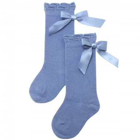 Girls Knee High Azure Blue Satin Bow Spanish Carlomagno Socks