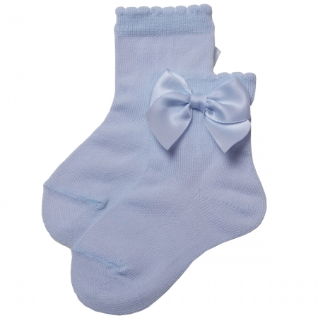 Girls Baby Blue Colour Ankle High Spanish Bow Socks