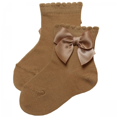 Caramel Brown Ankle High Bow Socks For Girls