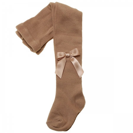 Girls Caramel Light Brown Carlomagno Tights With Satin Bows