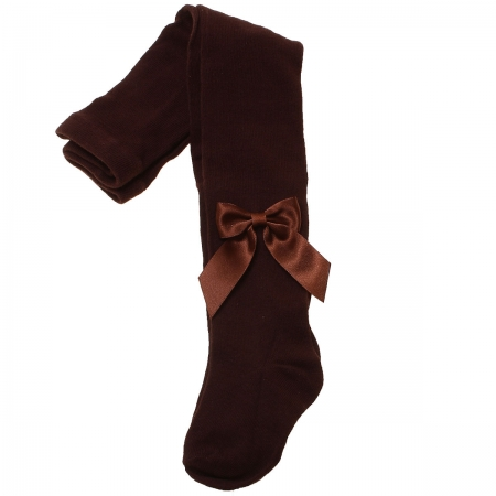 Girls Dark Chocolate Brown Carlomagno Tights With Satin Bows