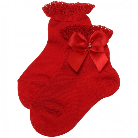 Girls Ankle High Red Socks With Frills And Bows