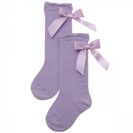 Girls Knee High Lilac Socks With Large Satin Bows At The Back