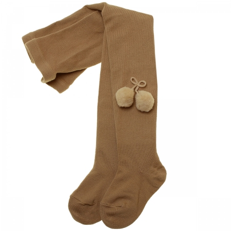 Caramel Colour Pom Pom Tights By Spanish Carlomagno