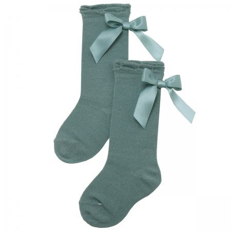 Satin Bow Sea Green Colour Knee High Socks By Carlomagno