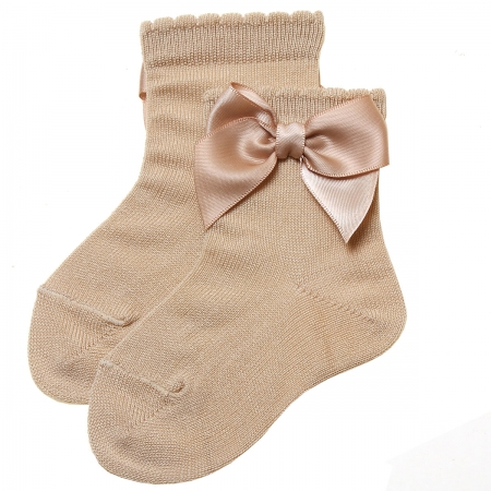 Tan Colour Ankle High Bow Socks For Girls