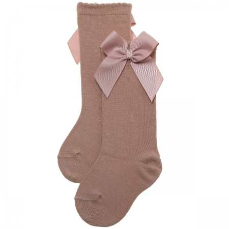 Girls Knee High Caramel Gros Grain Bow Socks