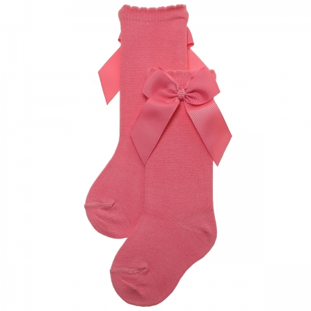 Coral Colour Girls Knee High Gros Grain Bow Socks