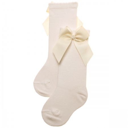 Knee High Gros Grain Bow Ivory Socks For Girls