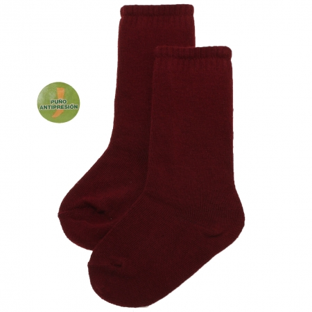 Plain Knee High Burgundy Socks Made in Spain