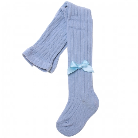 Baby Blue Ribbed Tights Decorated By Satin Bows