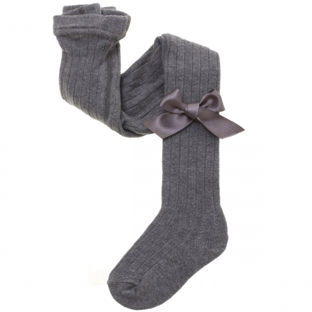 Carlomagno Ribbed Grey Bow Tights