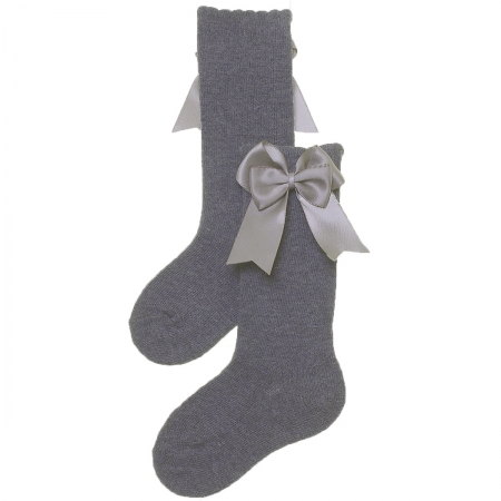Carlomagno Girls Spanish Knee High Double Bow Light Grey Socks