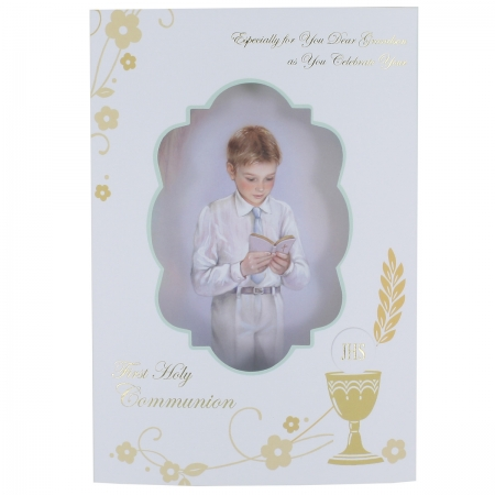 Grandson First Holy Communion Card With 3D Pillow Effect