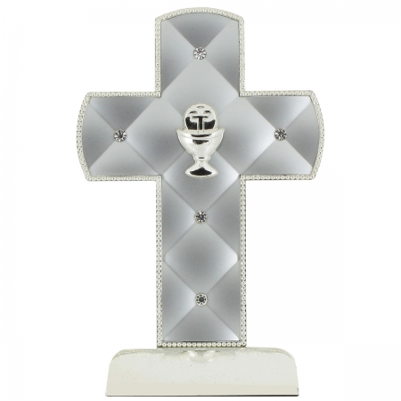 Silver Diamantes First Holy Communion Keepsake Crucifix