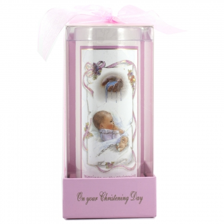 Girls Christening Candle in Pink With Gift Box