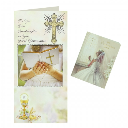 Dear Granddaughter First Communion Card With Colour Illustrated Communion Book
