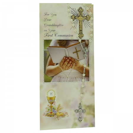 Dear Granddaughter First Communion Card With Pearl Rosary