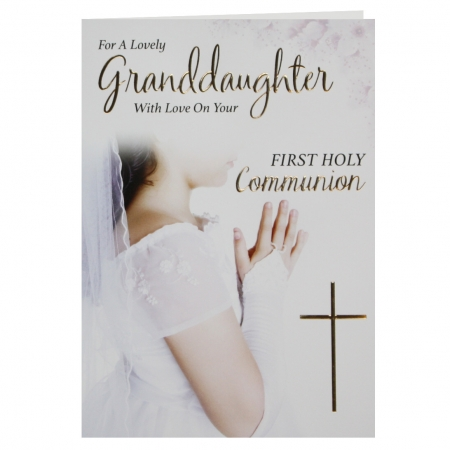 For A Lovely Granddaughter First Holy Communion Card