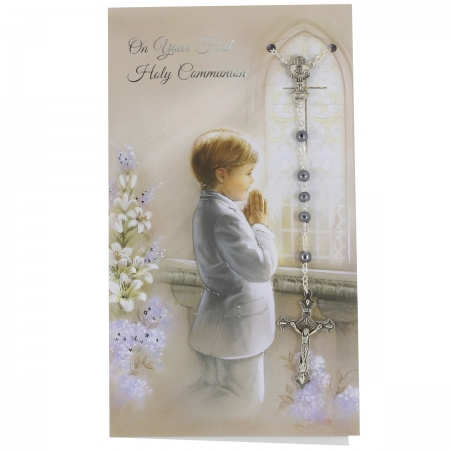 Boys First Holy Communion Card With Black Colour Rosary
