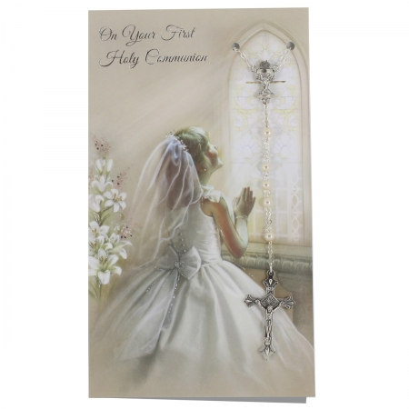 Girls First Holy Communion Card With Pearl Colour Rosary