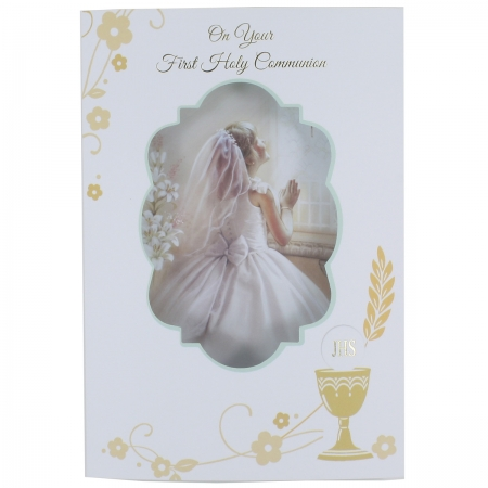 Girls First Holy Communion Card With 3D Pillow Effect