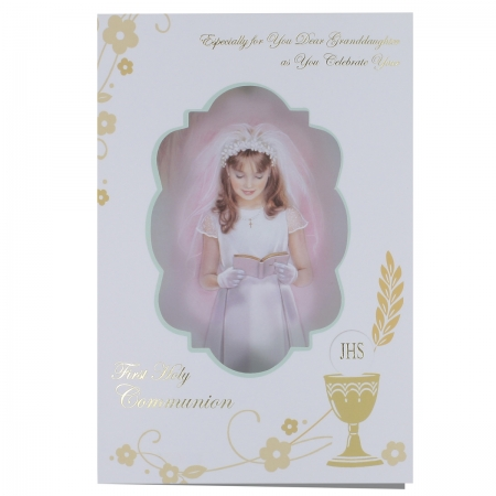 Granddaughter First Holy Communion Card With 3D Pillow Effect