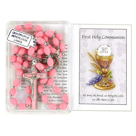 First Holy Communion Pink Rosary in Gift Box