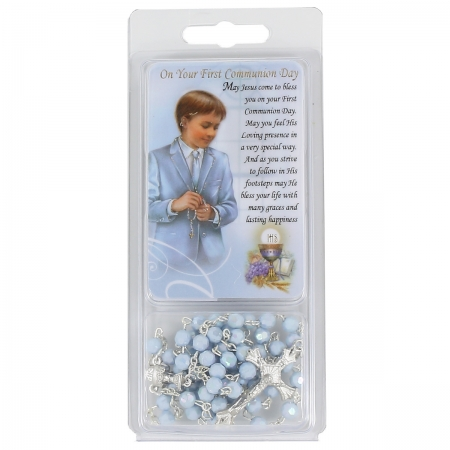 First Holy Communion Token Card And Blue Rosary Gift Pack