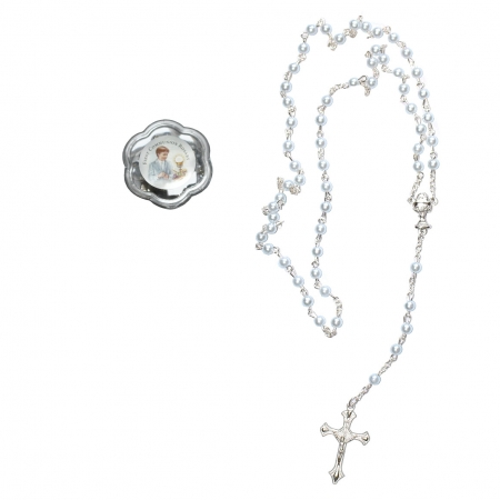 Blue Rosary First Holy Communion Gift In A Clear Case