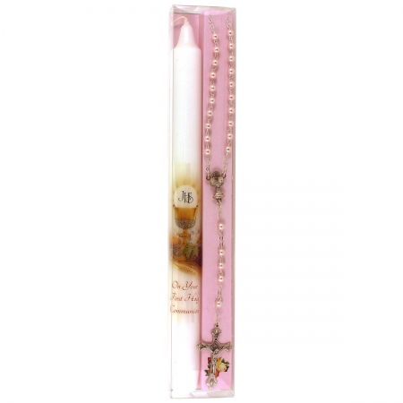 Gift Boxed First Holy Communion Candle In Pink With Rosary