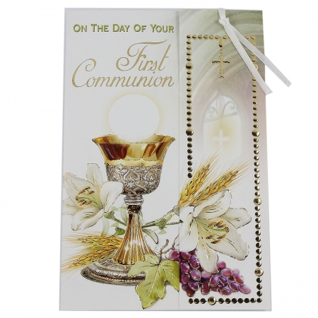 First Holy Communion Day Card With A Bookmarker