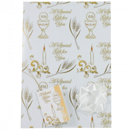 First Holy Communion Gift Wrap Paper With Tag And Bow