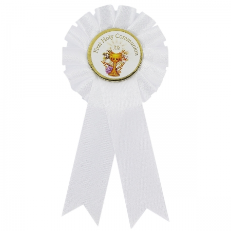 White First Holy Communion Rosette For Boys And Girls
